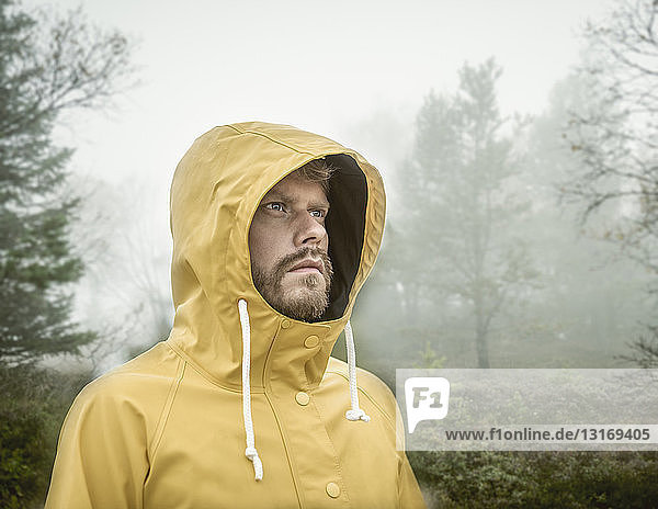 Bearded young man in misty forest wearing hooded yellow raincoat looking away