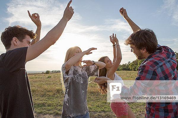 Vier Freunde tanzen auf dem Feld