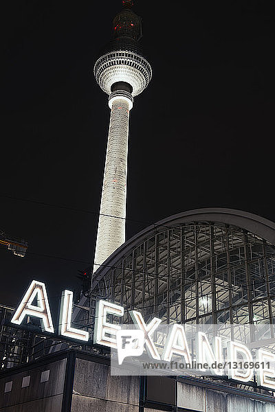 Alexander platz station and television tower at night  Berlin  Germany