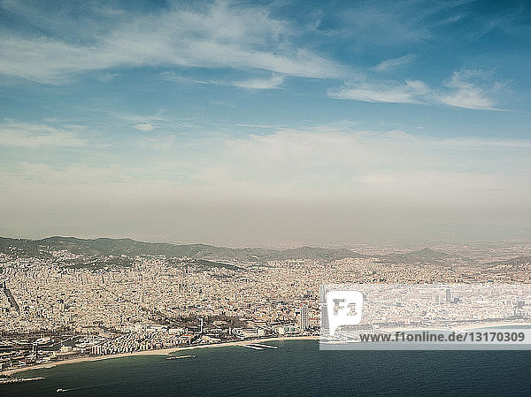 High angle view of coastline and beaches  Barcelona  Spain