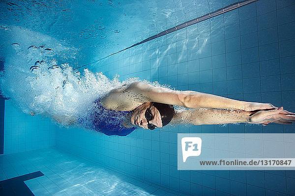 Schwimmer  der in den Pool taucht