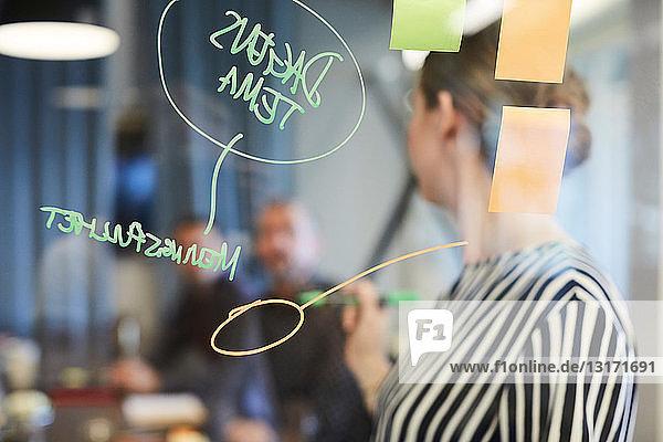 Text und Haftnotizen auf Glas mit Geschäftsleuten im Hintergrund im Kreativbüro