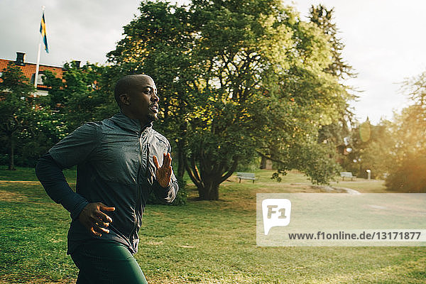 Male athlete jogging at park during sunny day