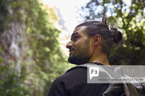 Spanien  Kanarische Inseln  La Palma  Rückansicht eines Wanderers  der sich in einem Wald umsieht