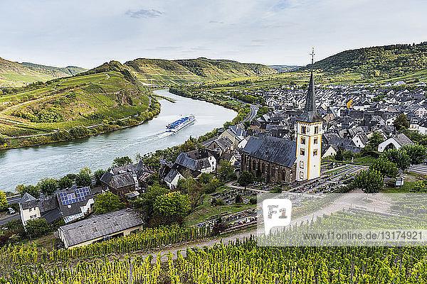 Germany  Rhineland-Palatinate  Cruise ship on the Moselle river near Bremm