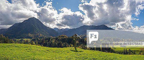 Germany  Bavaria  Allgaeu  Allgaeu Alps  Oberstdorf  Cross in the Oy Valley  Stillach Valley in the background