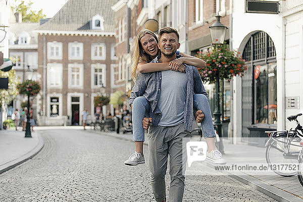 Netherlands  Maastricht  happy young couple in the city