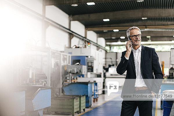 Manager telefoniert in einem High-Tech-Unternehmen