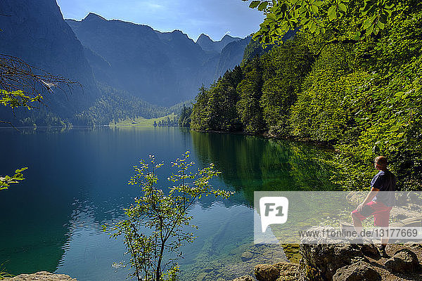 Germany  Bavaria  Upper Bavaria  Berchtesgaden Alps  Berchtesgaden National Park  Salet  Lake Obersee  hiker