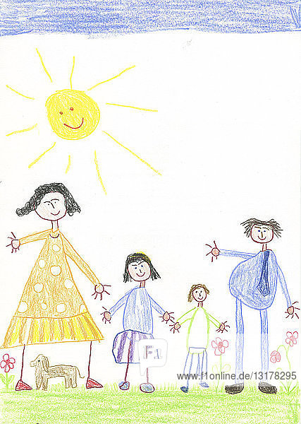 Children´s drawing  happy family with dog in the garden