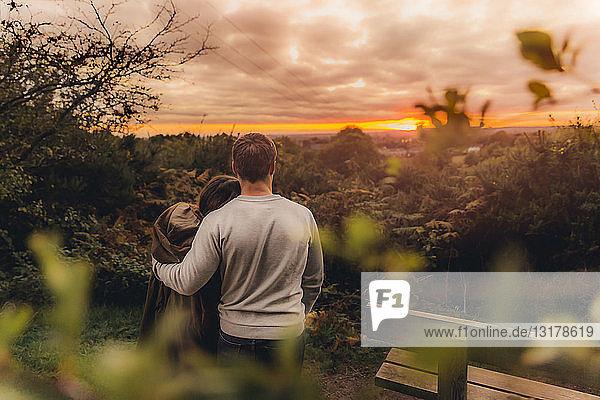 Rückenansicht eines verliebten Paares in herbstlicher Natur beim Sonnenuntergang