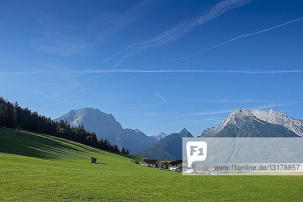 Deutschland  Bayern  Berchtesgadener Land  Berchtesgadener Alpen  Hochschwarzeck bei Ramsau  Watzmann und Hochkalter im Hintergrund