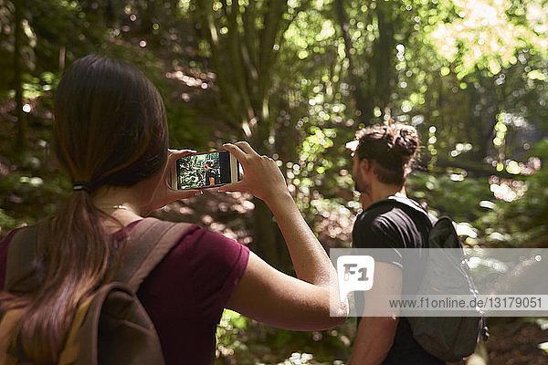 Spanien  Kanarische Inseln  La Palma  Frau macht ein Handyfoto von ihrem Freund in einem Wald