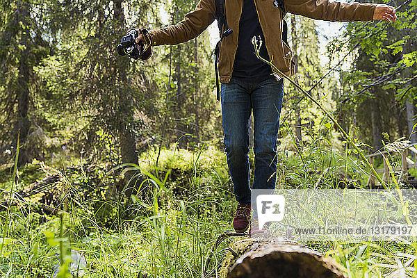 Finnland  Lappland  Mann balanciert auf Stamm im Wald