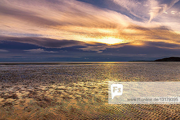 Great Britain  Scotland  Solway Firth  mud flats  sunset