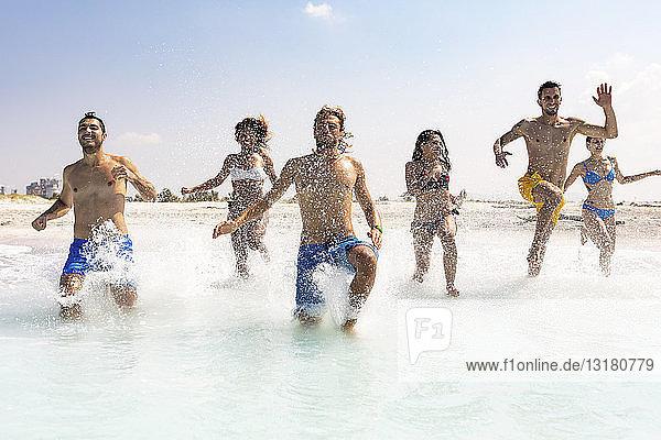 Gruppe von Freunden  die sich am Strand vergnügen und ins Wasser laufen