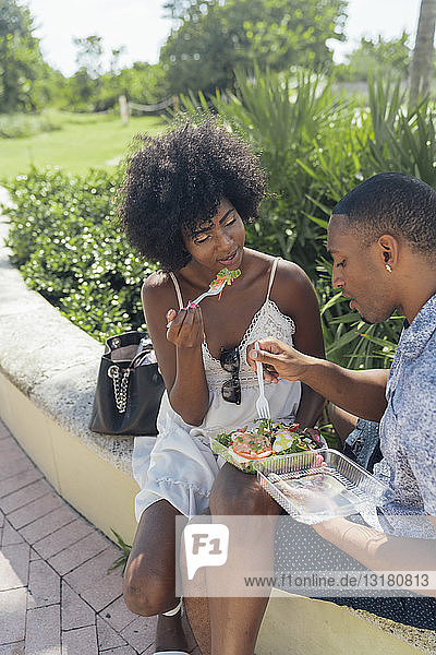 USA  Florida  Miami Beach  young couple sharing a salad in a park