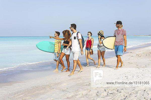 Gruppe von Freunden  die mit Surfbrettern am Strand spazieren gehen