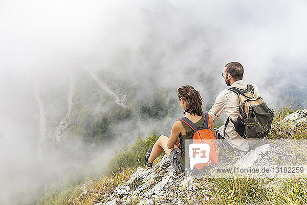 Italy  Massa  couple looking at the beautiful view in the Alpi Apuane