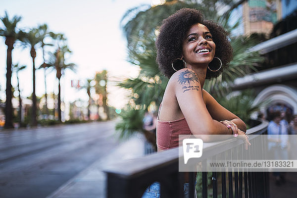 USA  Nevada  Las Vegas  portrait of happy young woman in the city