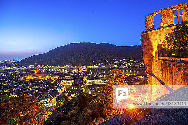 Deutschland  Baden-Württemberg  Heidelberg  Stadtansicht  Blaue Stunde