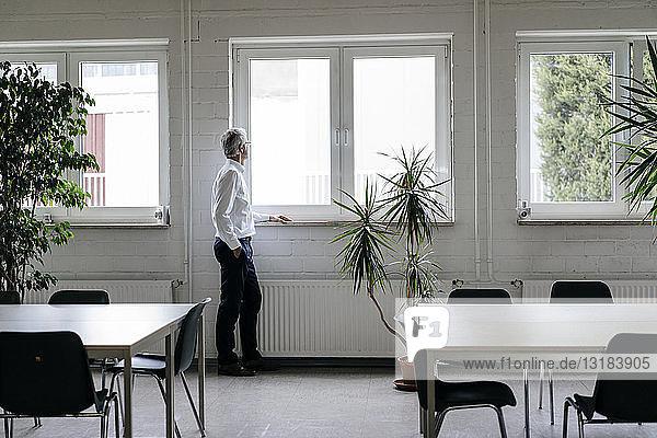 Geschäftsmann macht eine Pause  schaut aus dem Fenster