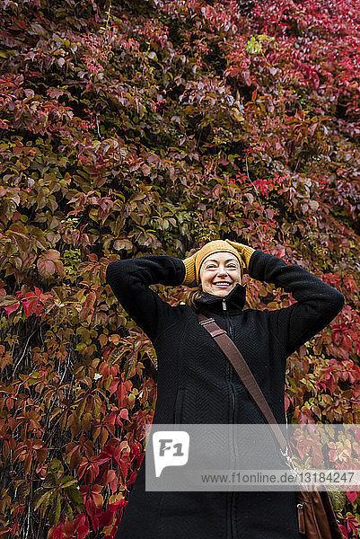 Porträt einer lächelnden Frau  die im Herbst vor einer mit Virginia-Kletterpflanze bewachsenen Mauer steht