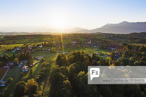 Germany  Upper Bavaria  Alpine Foreland  Aerial view of Seehausen at sunrise