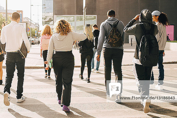 Rückansicht von Freunden  die an einem sonnigen Tag die Straße in der Stadt überqueren