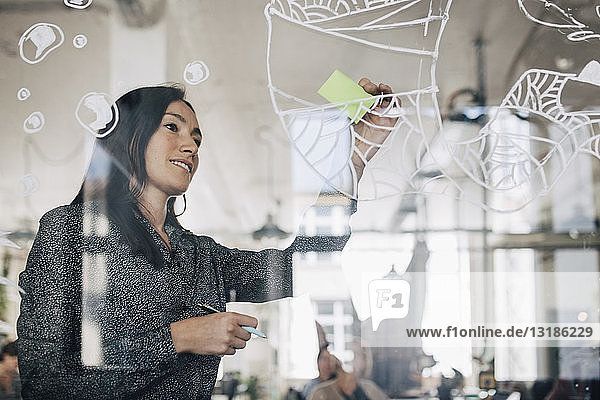 Kreative Geschäftsfrau klebt Klebezettel auf gemustertes Glas im Büro