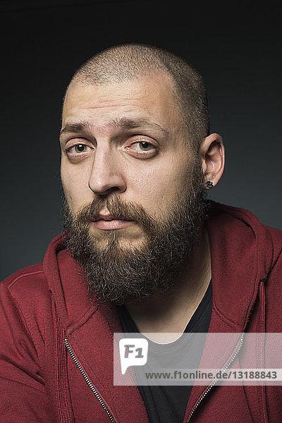 Portrait cool man with beard