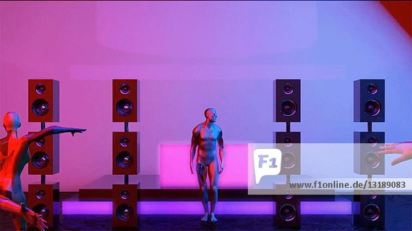 Futuristic Man Dancing in Nightclub  CGI Effect
