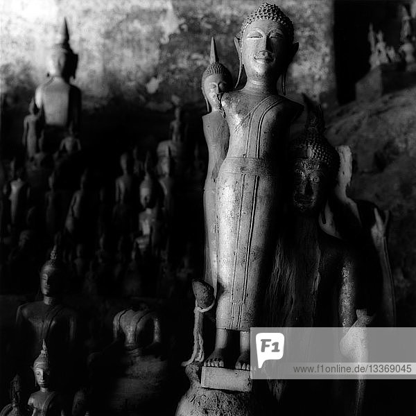 Buddhist statues in cave