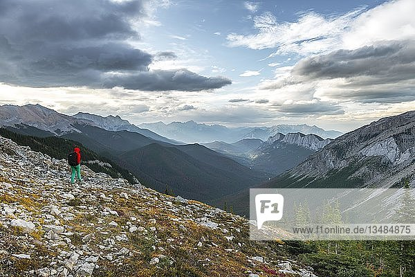 Female hiker on a hiking trail  Sulphur Skyline trail  Ashlar Range  Jasper National Park  British Columbia  Canada  North America