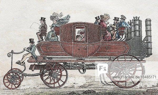 Gurney's Dampfkutsche  handkolorierter Kupferstich aus Friedrich Justin Bertuch Bilderbuch für Kinder  1830  Weimar  Deutschland  Europa