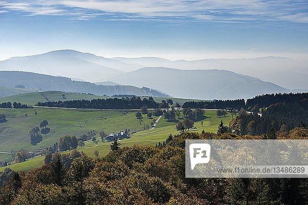 Hügellandschaft  Ausblick vom Berg Schauinsland in Richtung Belchen  Freiburg im Breisgau  Schwarzwald  Baden-Württemberg  Deutschland  Europa