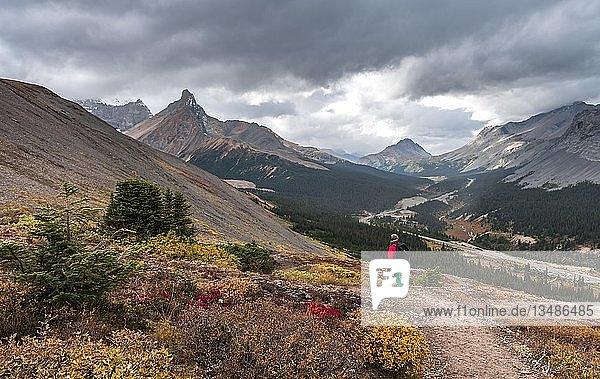 Blick auf Berge Mount Athabasca und Hilda Peak im Herbst  Wanderin auf dem Wanderweg zur Parker Ridge  Jasper National Park Nationalpark  Canadian Rocky Mountains  Alberta  Kanada  Nordamerika
