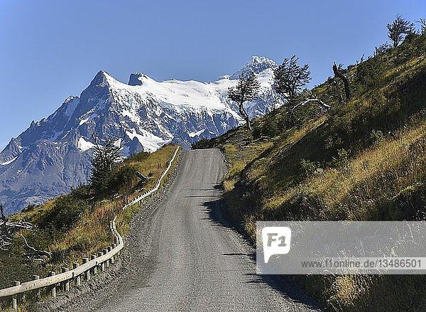 Unbefestigte Straße durch den Nationalpark Torres del Paine  Patagonien  Chile  Südamerika