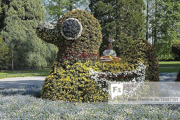 Blumenskulptur  Insel Mainau  Bodensee  Baden-Württemberg  Deutschland  Europa
