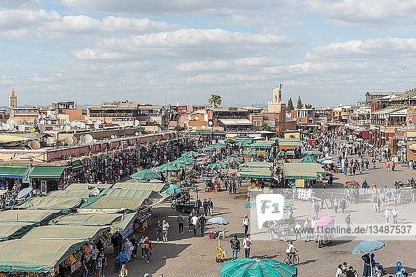 Locals on a busy place  Djemaa El Fna square  Marrakech  Morocco  Africa