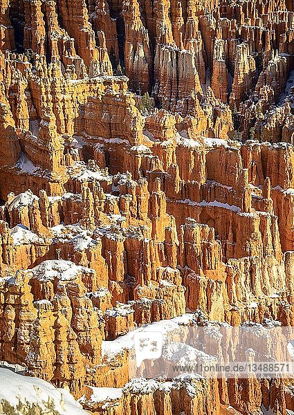 verschneite bizarre Felslandschaft mit Hoodoos im Winter  Inspiration Point  Bryce Canyon Nationalpark  Utah  USA  Nordamerika