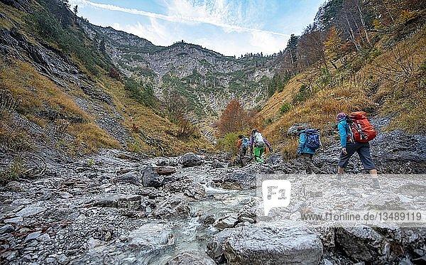 Wandergruppe in der Wolfsschlucht  Aufstieg zum Predigtstuhl  Fluss Feldweissach Herbst  Wildbad Kreuth  Oberbayern  Bayern  Deutschland  Europa