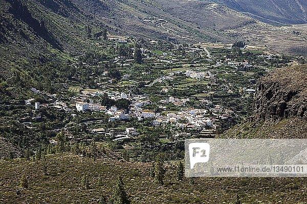 Ausblick in den Barranco de Fataga und Ort Fataga  Gran Canaria  Kanarische Inseln  Spanien  Europa