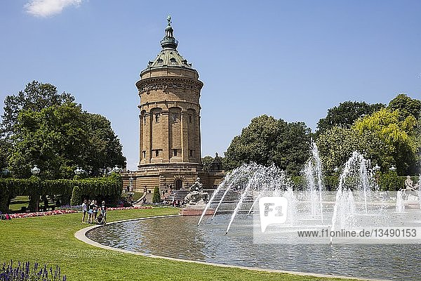 Wasserturm  Friedrichsplatz  Mannheim  Baden-Württemberg  Deutschland  Europa