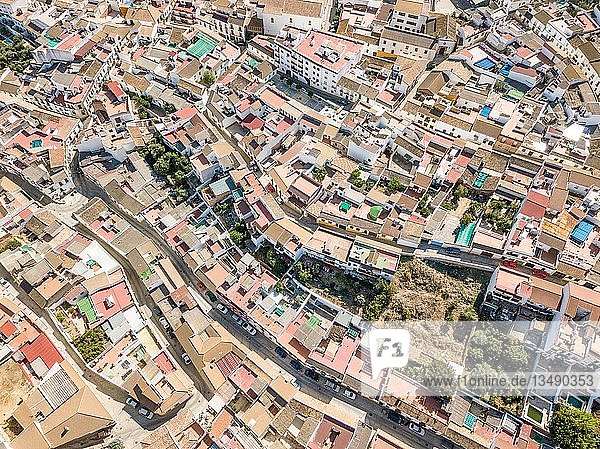 Architectural pattern of little Spanish town  drone image  Almodovar del Rio  Andalusia  Spain  Europe