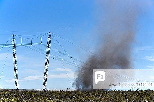 Stromleitung mit Dust Devil  Staubteufel  Sandsturm mit viel Asche über verbrannter Pampa  Patagonien  Argentinien  Südamerika