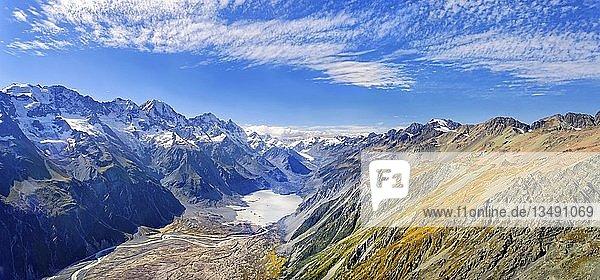 Murchison Glacier im Mount Cook Nationalpark  Aoraki  Neuseeländische Alpen  Südinsel  Neuseeland  Ozeanien