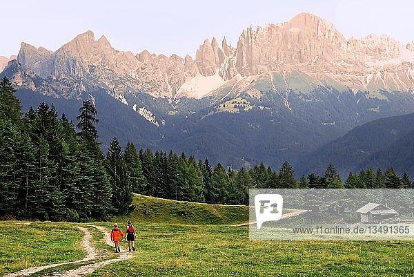 Zwei Frauen wandern am Abend vor der Kulisse des Rosengartengebirges auf einem Fahrweg über eine Wiese  Südtirol  Italien  Europa