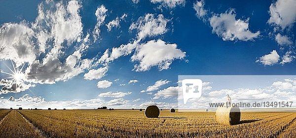 Panorama eines abgeernteten Getreidefeldes mit Mädchen auf einem Strohballen sitzend und bizarrem Wolkenhimmel im Abendlicht