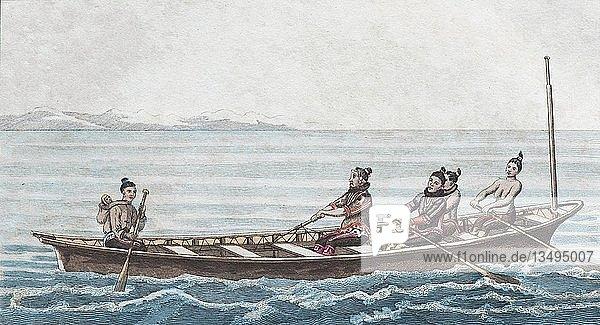 Grönländisches Winterboot  handkolorierter Kupferstich aus Friedrich Justin Bertuch Bilderbuch für Kinder  1830  Weimar  Deutschland  Europa